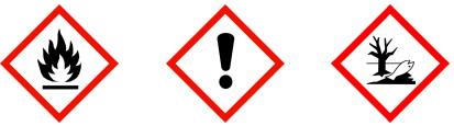 Gefahrenpiktogramme:  GHS02: Flamme GHS07: Ausrufezeichen GHS09: Umwelt